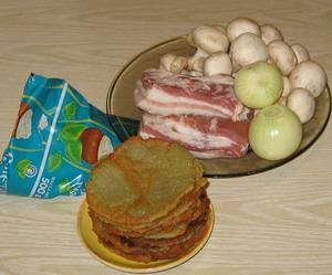 Інгредієнти для дерунів в горщику з грудинкою і грибами