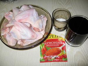 Інгредієнти для крилець-гриль в соєвому маринаді