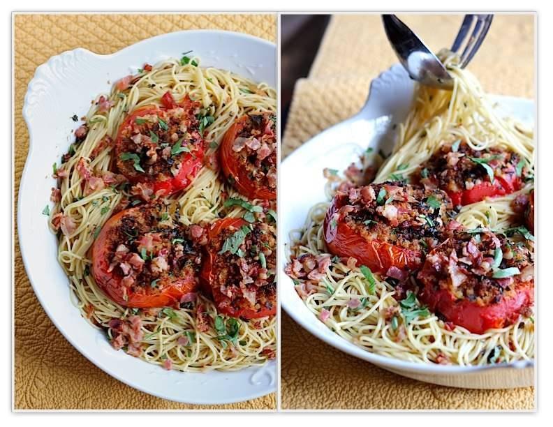 Спагетті з запеченими помідорами, часником і беконом 4