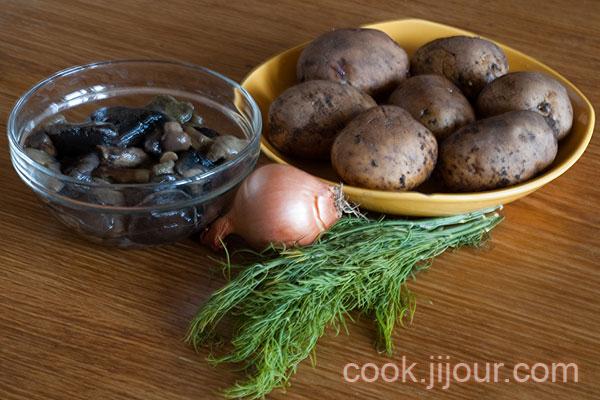 Смажена картопля з грибами Інгредієнти