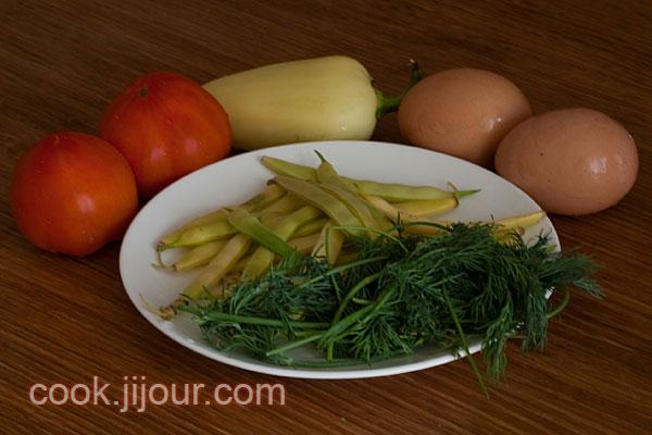 Яйця з овочами Інгредієнти