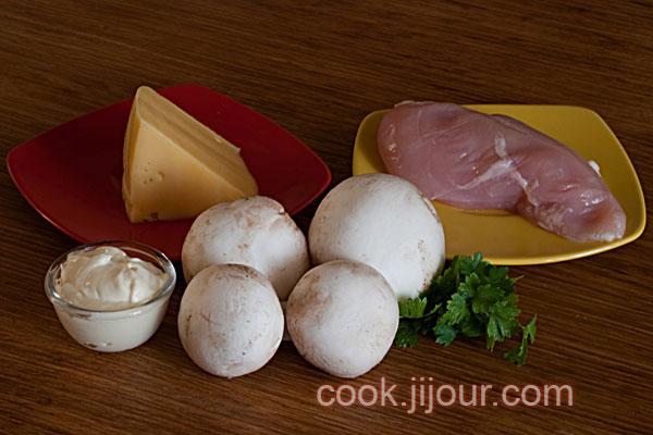 Куриця з грибами під сиром в горщику Інгредієнти