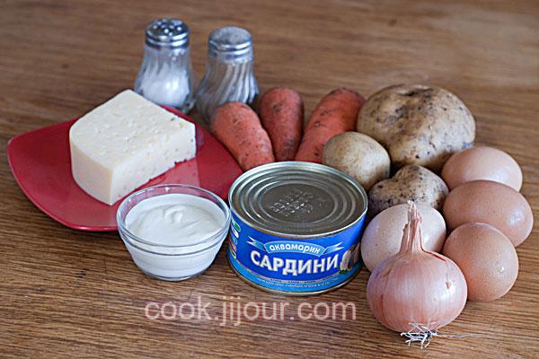Рецепт салату Мімоза - Інгредієнти