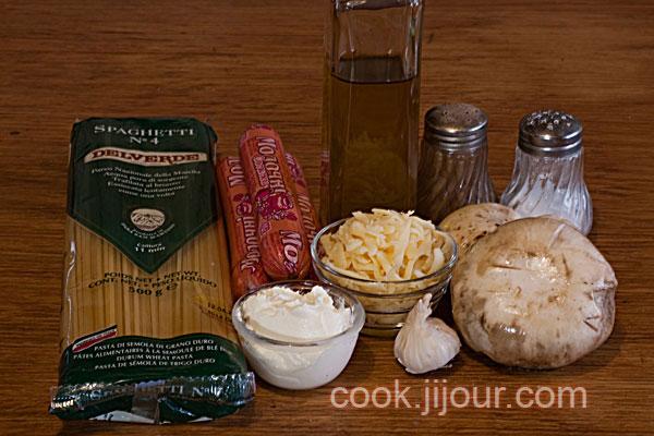 Спагеті з грибами і сосисками - Інгредієнти